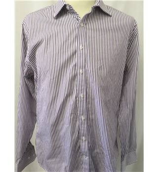"Alexandre, Saville Row - Size: 16"" collar - white, red and blue striped long sleeved shirt"