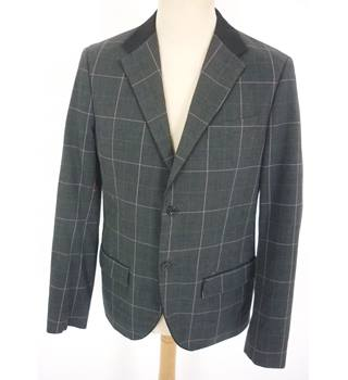 "Penguin  Size: M Dark Grey & Blue Check ""Patent Office"" Single Breasted Blazer"