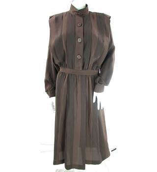 Vintage - 1970s - Nipon Boutique - Size: 8 - Chocolate Brown/Black - 100% Silk - Full length dress