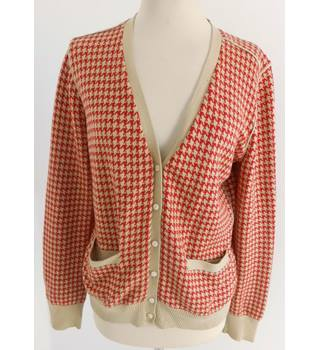 "Tommy Hilfiger  Size: L, 37"" Chest Orange & Red Hounds Tooth Casual/Stylish Cotton Designer Cardigan"