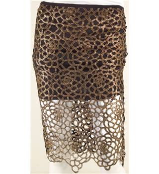 Unbranded Size 8 Metallic Bronze Print Pencil Skirt