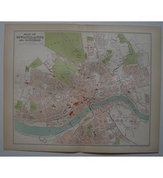 Map of Newcastle on Tyne & Gateshead  : From Gazetteer of England and Wales (ca. 1895)