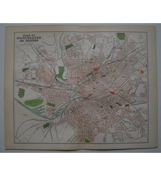 Map of Plan of Manchester & Salford : From Gazetteer of England and Wales (ca. 1895)