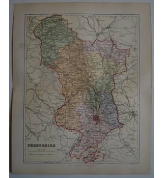 Map of Derbyshire : From Gazetteer of England and Wales (ca. 1895)