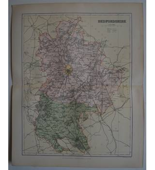Map of Bedfordshire   : From Gazetteer of England and Wales (ca. 1895)