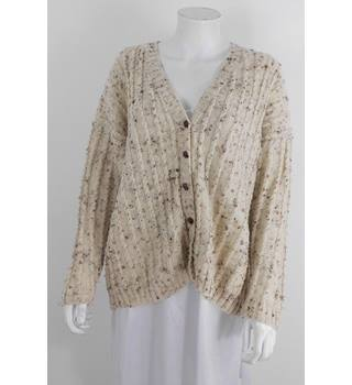 Handmade Size XL Cream and Chocolate Fleck Chunky Knit Cardigan