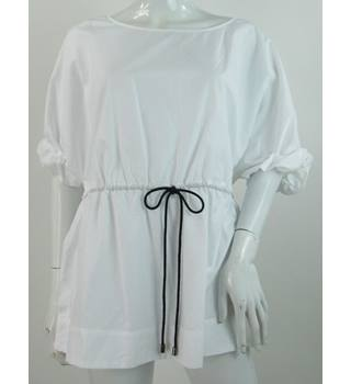 NWOT Autograph - Size: 16 - White - 100% Cotton - Short Sleeved Shirt with Drawstring Tie Waist