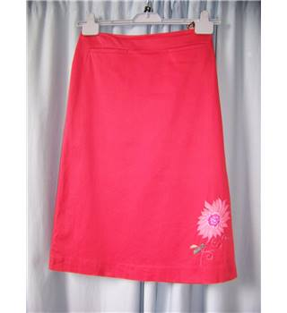 Whistles - Size: 8 - Red with Embroidered Floral  A-line skirt