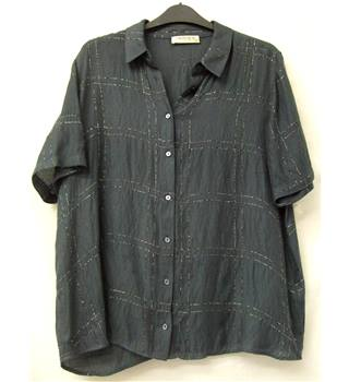 M&S Indigo Collection - Size: 14 - Slate Grey with Metallised Silver Check Short Sleeved Shirt