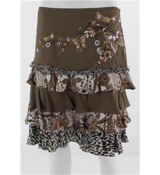 "Karen Millen size 34"" waist Brown with Embroidered 'Butterfly' Patterned Skirt"