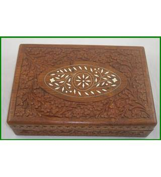 Indian hand carved wooden jewellery box