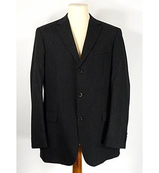 "Hugo Boss - Size: XL (44"" chest) - Black with faint white stripe - Men's 2-piece Single-breasted Suit"