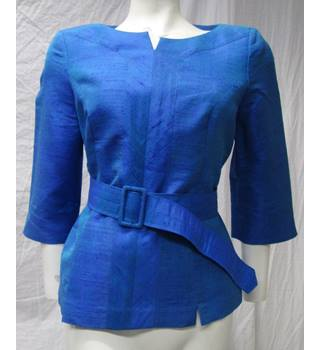 100% Silk top with Belt Size M Unbranded - Size: M - Blue