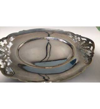 Silver Platter With Floral Ends