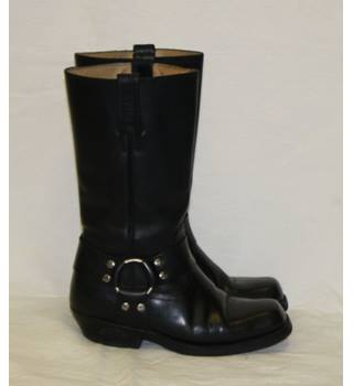 Ladies Black All Leather Pull On Loblan Cowboy Cowgirl Engineer Biker Festival Calf Boots Size 5 38