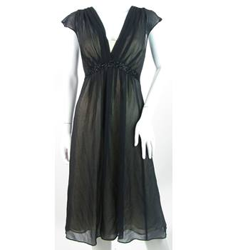 Monsoon - Size: 12 - Black - Pleated & Layered Sleeveless Silk Dress