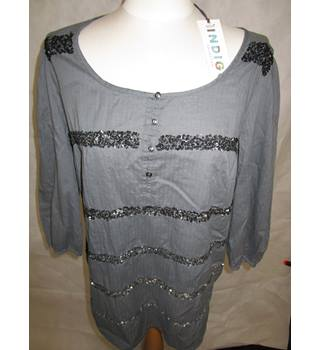 New Indigo size 14 Grey Sequined Top M&S Marks & Spencer - Grey - Smock top