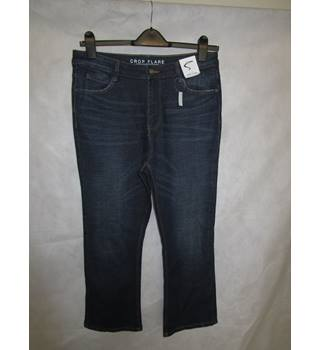 New size 14 mid rise crop flare denim trousers M&S Marks & Spencer - Blue - Trousers