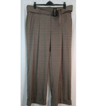 M&S Collection Size: 20 Reg - Beige Check - Wide Leg Trousers