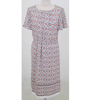 M&S Classic Size 12 Ivory mix floral design tunic dress with belt