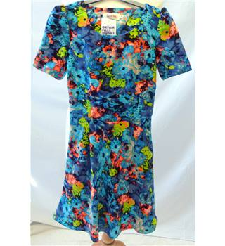 Louche - Size: 8 - Blue with blue, green and pink floral pattern dress