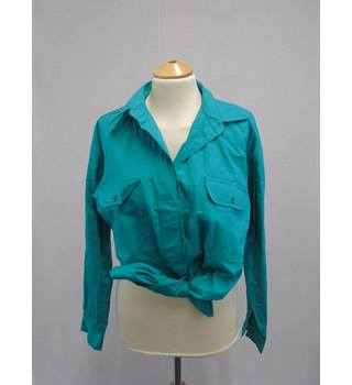 Vintage Littlewoods - S - Turquoise - Cotton Shirt shirt