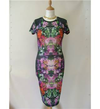 ASOS size 8 Black with Pink, Green and Orange Floral Bodycon Dress