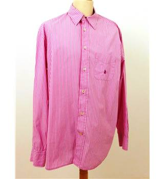 "Marina Yachting Size 18"" Collar Pink and White Striped Shirt"