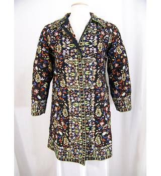 Unbranded - Size: S - Black with terracotta, blue, green and beige stylised floral pattern embroidered coat