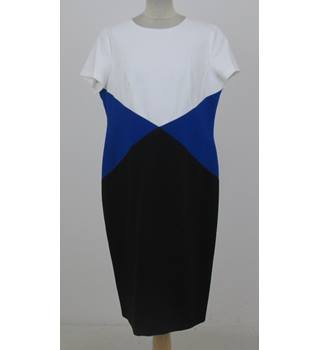 NWOT M&S Size:14 white, blue & black colour block dress