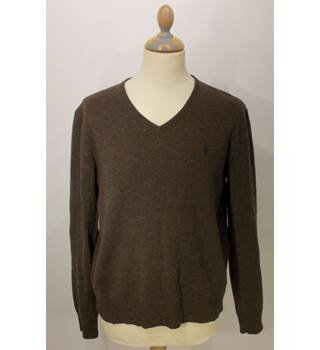 Polo by Ralph Lauren medium brown 100% lambswool jumper