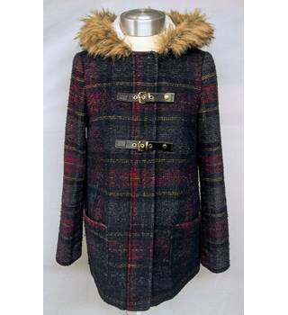New Look Hooded Tartan Coat - Size: 8 - Multi-coloured - Casual jacket / coat