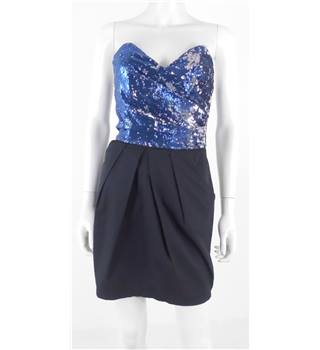 "Lipsy Size: 32"" chest  Black, Blue & Silver Sequinned Strapless Dress"
