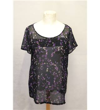 Per Una - Size: 18 - navy and purple floral top