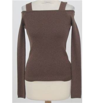 NWOT: M&S Limited Edition Size 8: Bronze metallised cold shoulder jumper