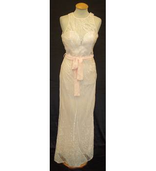 BNWT Little Mistress  Size 8 Pale apricot pink sequinned mesh evening dress