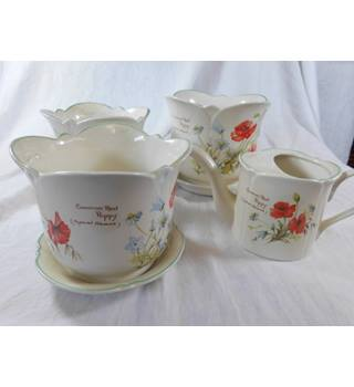 "Set of 3 ""Country Diary"" Royal Winton Jardiniere, matching saucers, and matching watering can"