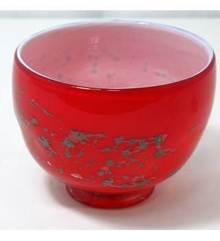 Patterned Red Glass Bowl