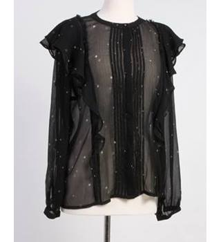 Next size 12 black with silver star pattern blouse