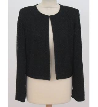 Sean Collection Size L Black evening silk with heavy bugle beaded jacket