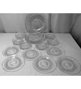 Glass Dessert or Fruit Set, Matching Serving Dishes, Plates etc