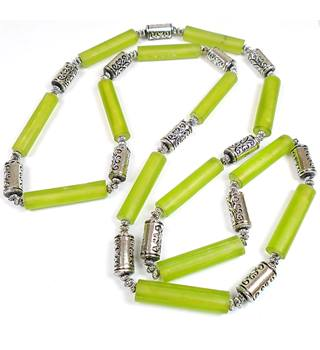 Green & silver tone tube bead necklace