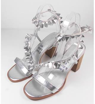 NEW ASOS Silver Block Heeled Sandals Size 9