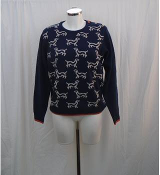 Country Rose navy jumper with dog motif Size M