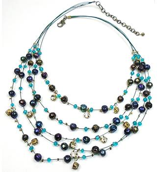Blue & green bead 5 strand necklace