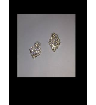 Sparkly Diamante Diamond Shaped Earrings Unbranded