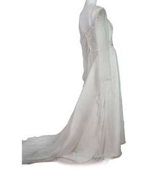 Stunning Elizabethan Style Ivory Satin and Chiffon Wedding Dress with Integral Train - Size 14