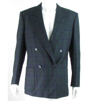 Harrods Knightsbridge - Size: 40L - Navy Blue/Green/Black - 100% Wool - Double breasted suit jacket