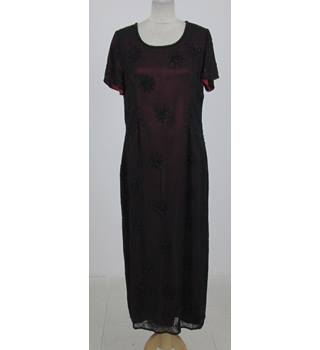 House of Fraser: Size M: Black with red lining beaded maxi dress