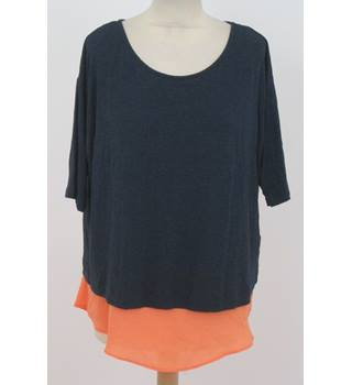 M&S, size 14, Blue top with exposed orange under-layer